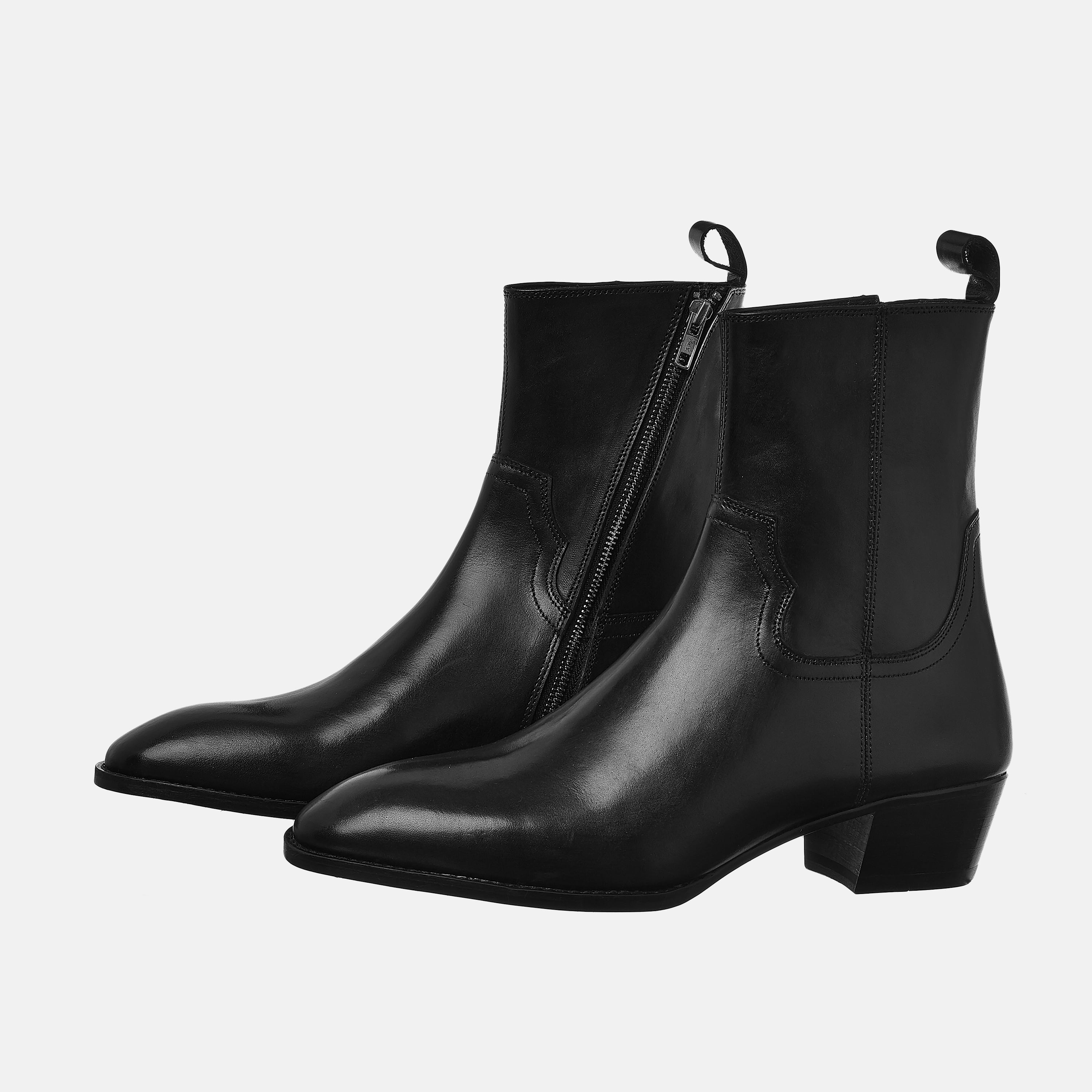 Leather Zip Boots In Black Leather Zip Boots In Black SS2020 1 1