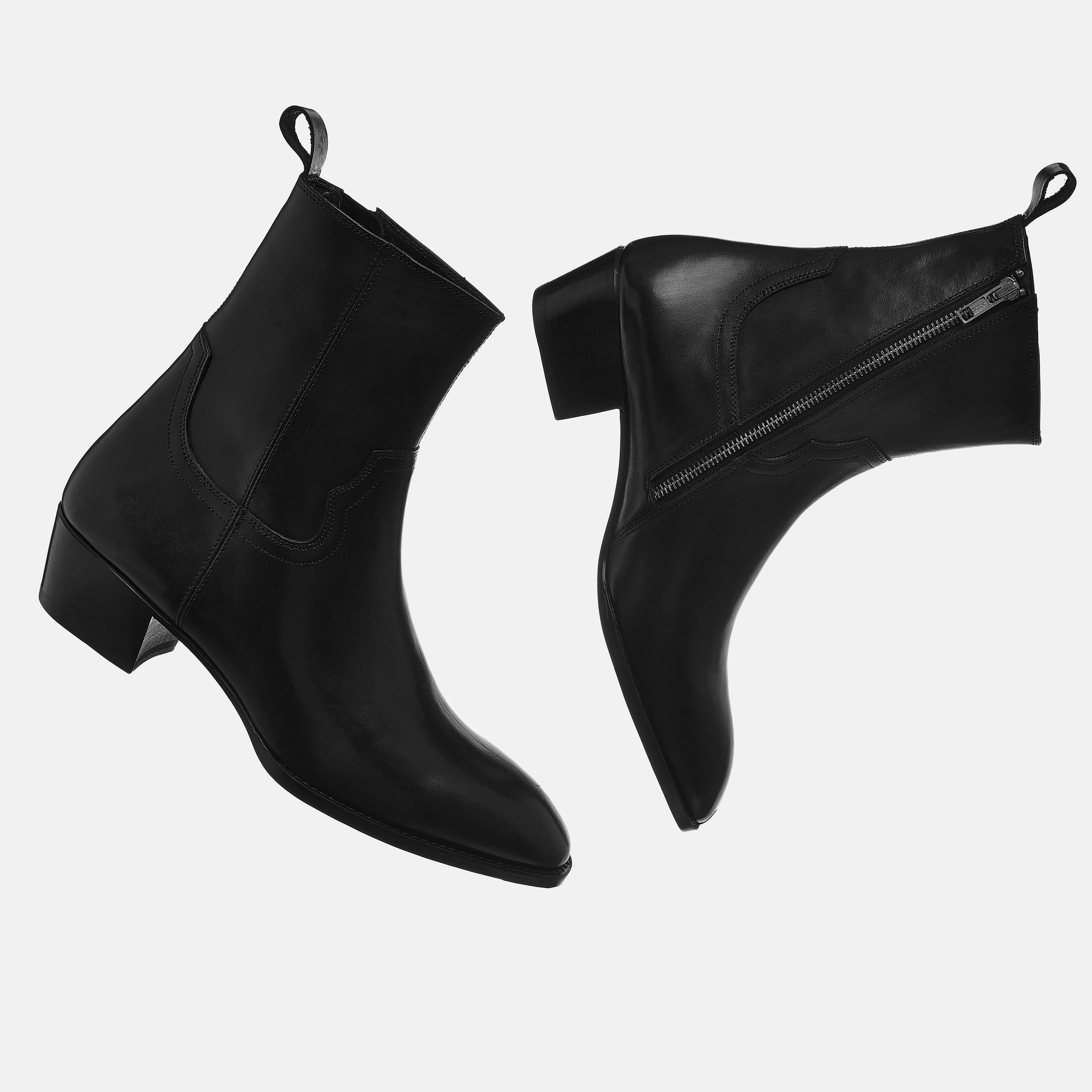 Leather Zip Boots In Black Leather Zip Boots In Black SS2020 3 1