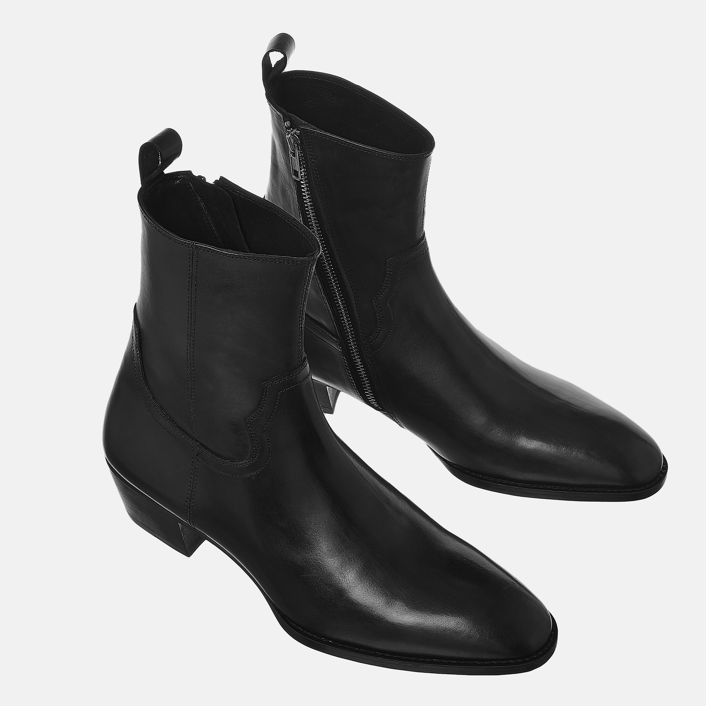 Leather Zip Boots In Black Leather Zip Boots In Black SS2020 Product thumbnail 1