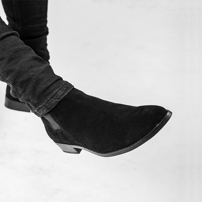 Suede Chelsea Boots In Black Suede Chelsea Boots In Black 4