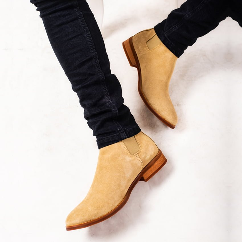 Suede Chelsea Boots In Tan Color Suede Chelsea Boots In Tan Color 1