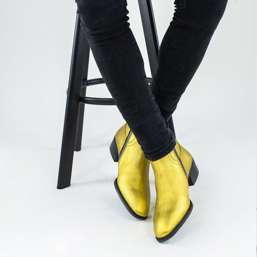 Thiea Zip Boots In Gold Thiea Zip Boots In Gold 1