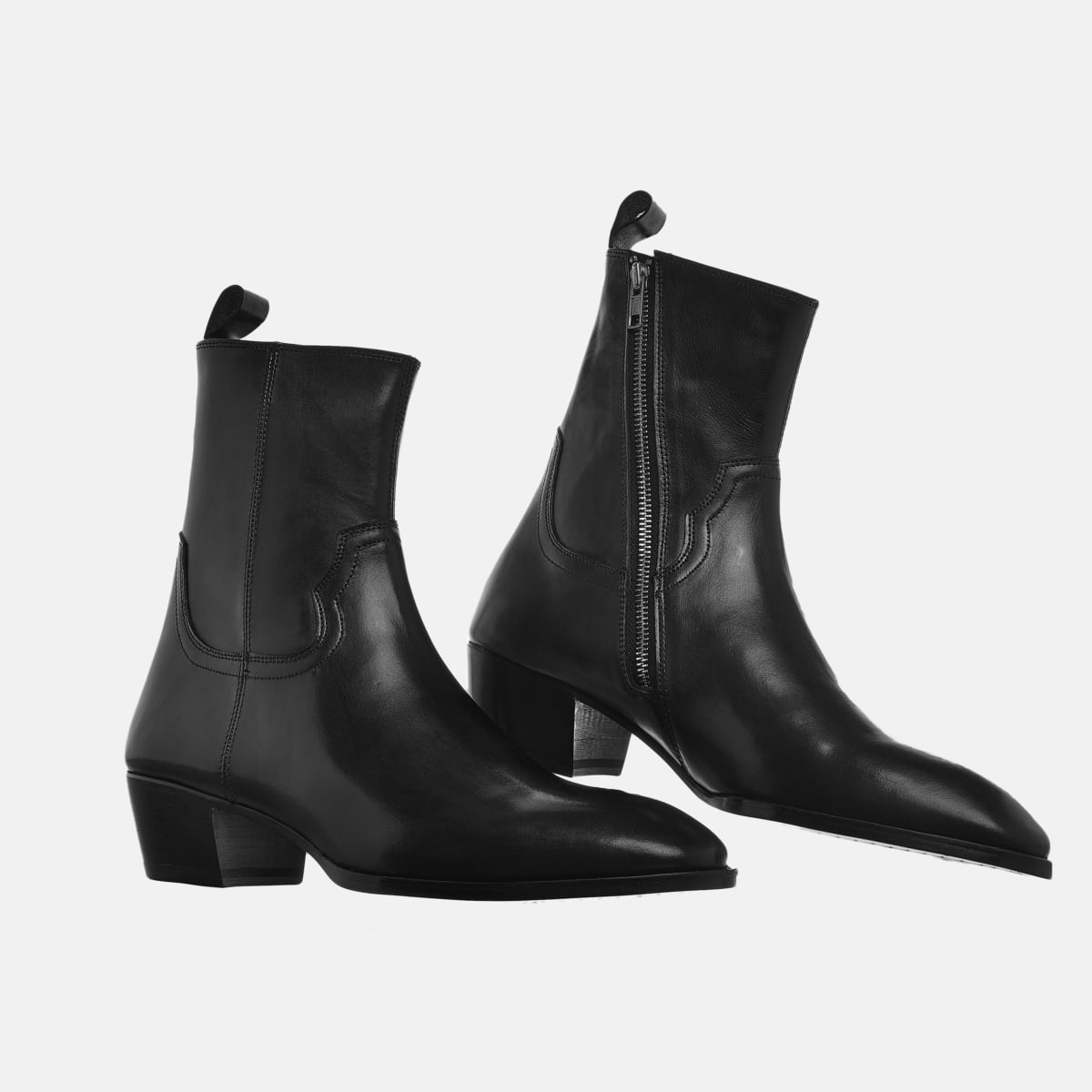 Leather Zip Boots In Black Leather Zip Boots In Black SS2020 2